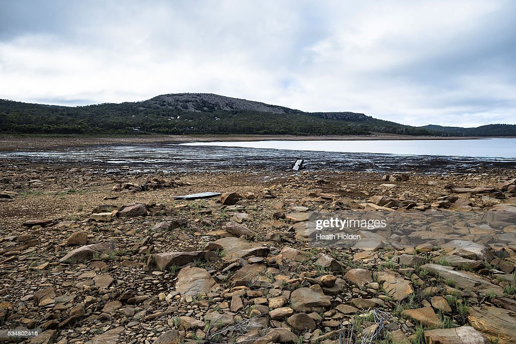 Water levels are slowly rising in Tasmania's hydro lakes as seen along the Breona shoreline on May 28, 2016 in Great Lake, Australia. Several weeks of rain fall in the area has seen the lake rise about 1m after much needed water flow into the lake. Tasmania's dams are at record lows due to lower than average rainfall with storage levels of dams used to generate hydro power below 15 per cent for the first time.