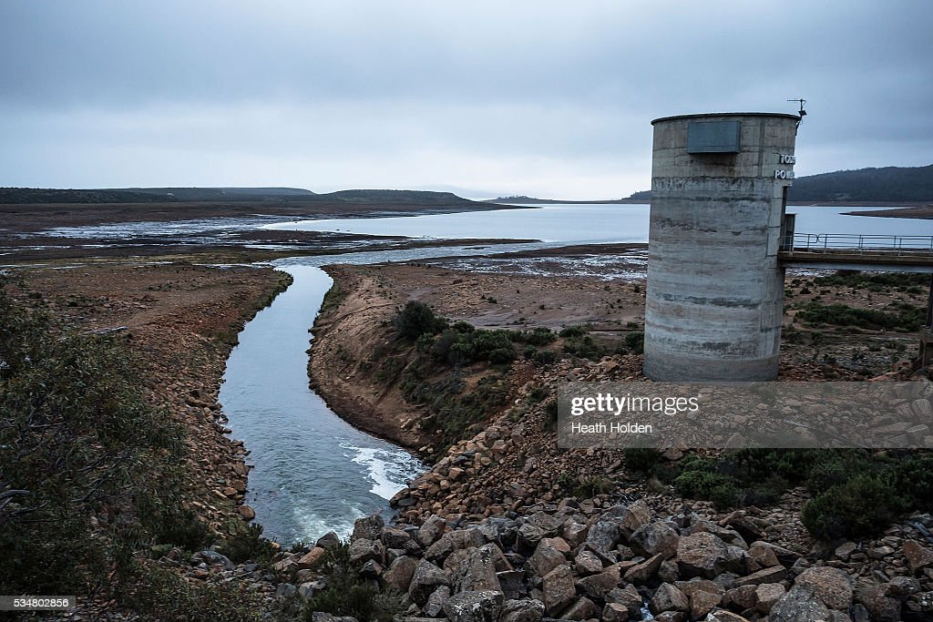 Water levels are slowly rising in Tasmania's hydro lakes as seen at Tods Corner power station on May 28, 2016 in Great Lake, Australia. Several weeks of rain fall in the area has seen the lake rise about 1m after much needed water flow into the lake. Tasmania's dams are at record lows due to lower than average rainfall with storage levels of dams used to generate hydro power below 15 per cent for the first time.
