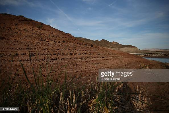 Water lines are visible along the steep banks of Lake Mead near the now closed Echo Bay Marina on May 12 2015 in Lake Mead National Recreation Area...