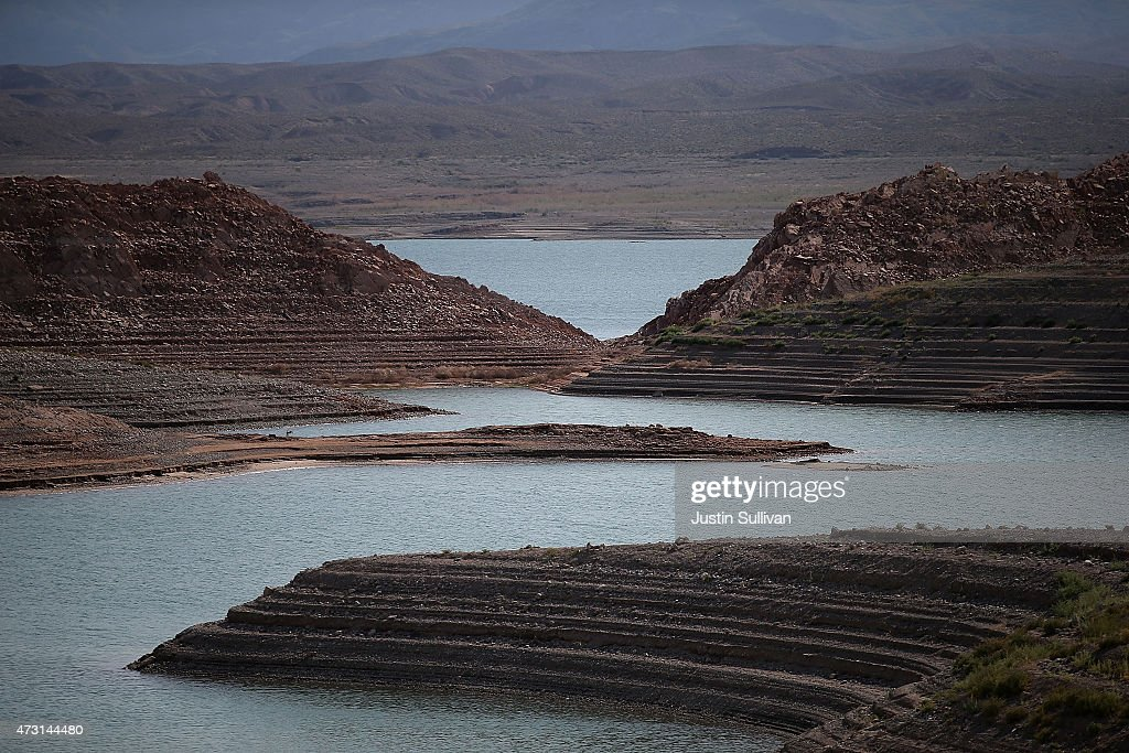 Water lines are visible along the steep banks of Lake Mead near the abandoned Echo Bay Marina on May 12 2015 in Lake Mead National Recreation Area...