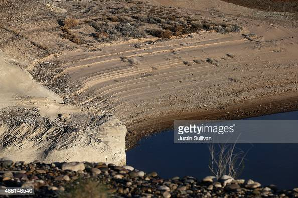 Water lines are visible on a section of Lake Powell that used to be under water on March 30 2015 near Big Water Utah As severe drought grips parts of...