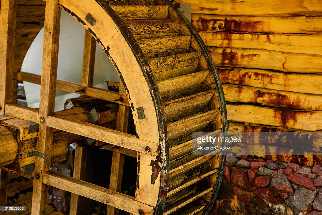 Water Mill in the autumn forest : Stock Photo
