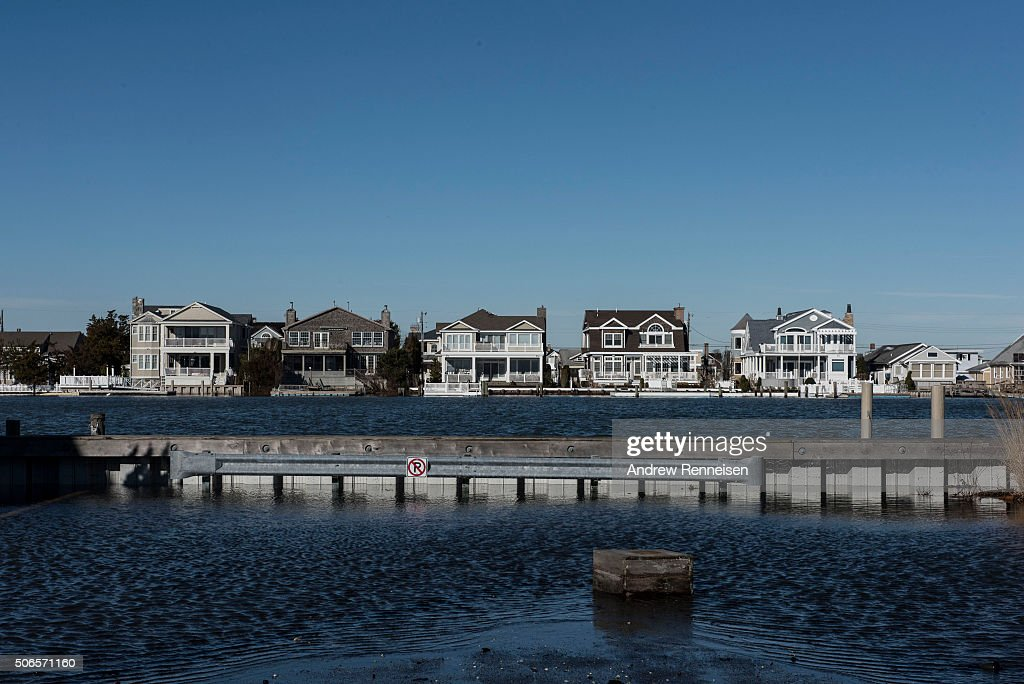 Water on the street met with the bay as flooding continuedafter a blizzard hit the region on January 24 2016 in Stone Harbor New Jersey A major...