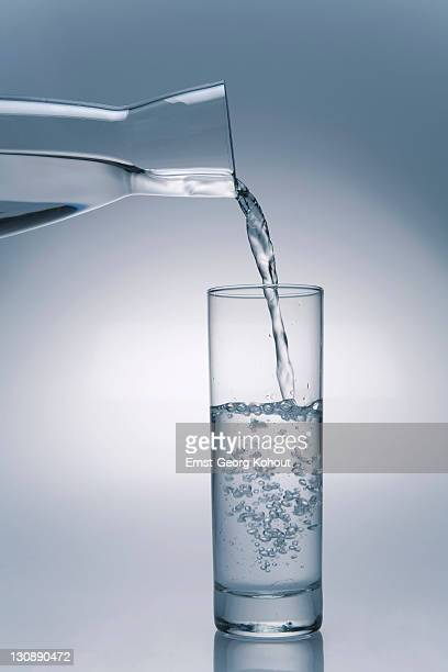 Water out of a carafe being poured into a glas