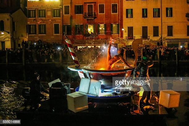 Water parade in rio Canareggio to officially open the Venice Carnival 2015