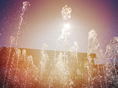 Water park fountain and sun
