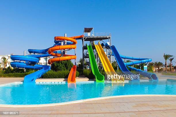 Water park with colorful slides