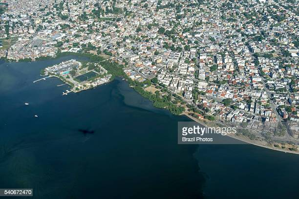 Water pollution aerial view of Guanabara bay at the border of densely populated Ilha do Governador Rio de Janeiro Brazil the bay has been heavily...