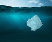 Plastic bag in the ocean with copy space