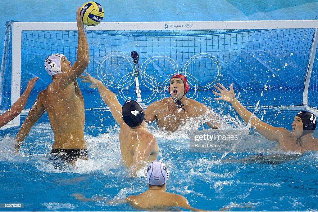Hungary Tamas Kasas (5) in action, scoring goal vs USA Merrill Moses (1) during Men's Gold Medal Match at Yingdong Natatorium. Hungary won gold. Beijing, China 8/24/2008