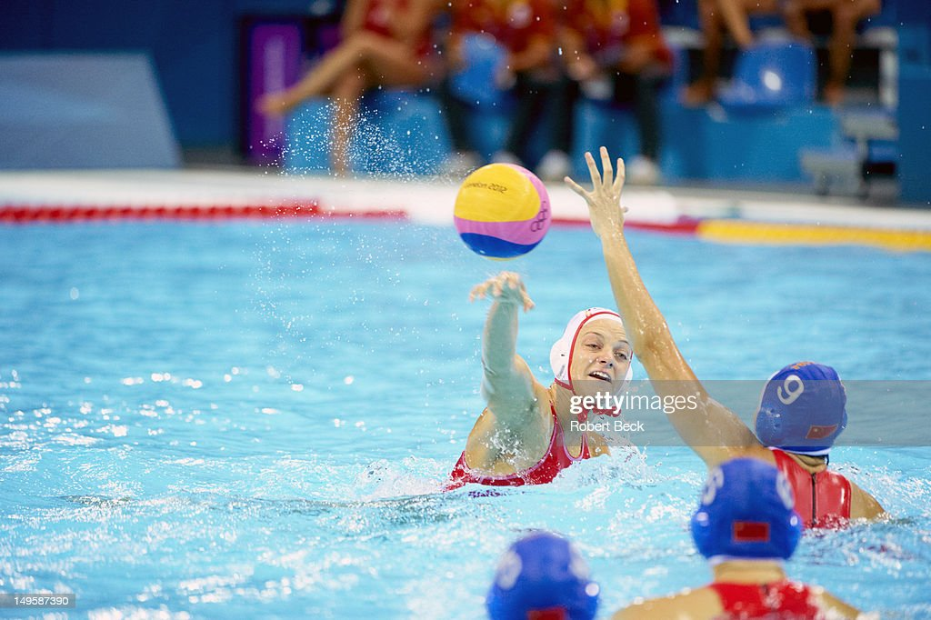 2012 Summer Olympics Spain Jennifer Pareja in action vs China during Women's Preliminary Round Group A at Water Polo Arena London United Kingdom...