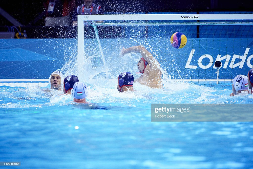 USA goalie Merrill Moses (1) in action vs Hungary during Men's Preliminary Round - Group B game at Water Polo Arena. Robert Beck X155161 TK1 R1 F99 )