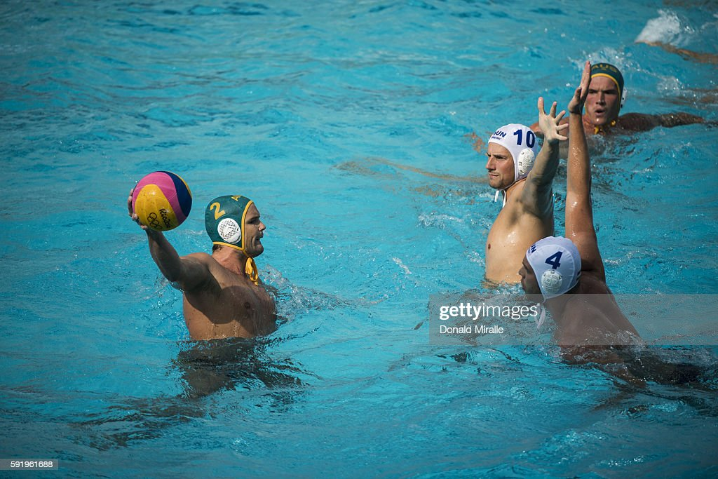 2016 Summer Olympics Australia Richie Campbell in action vs Hungary Denes Varga and Gergo Zalanki during Men's Preliminary Round Group A match at...