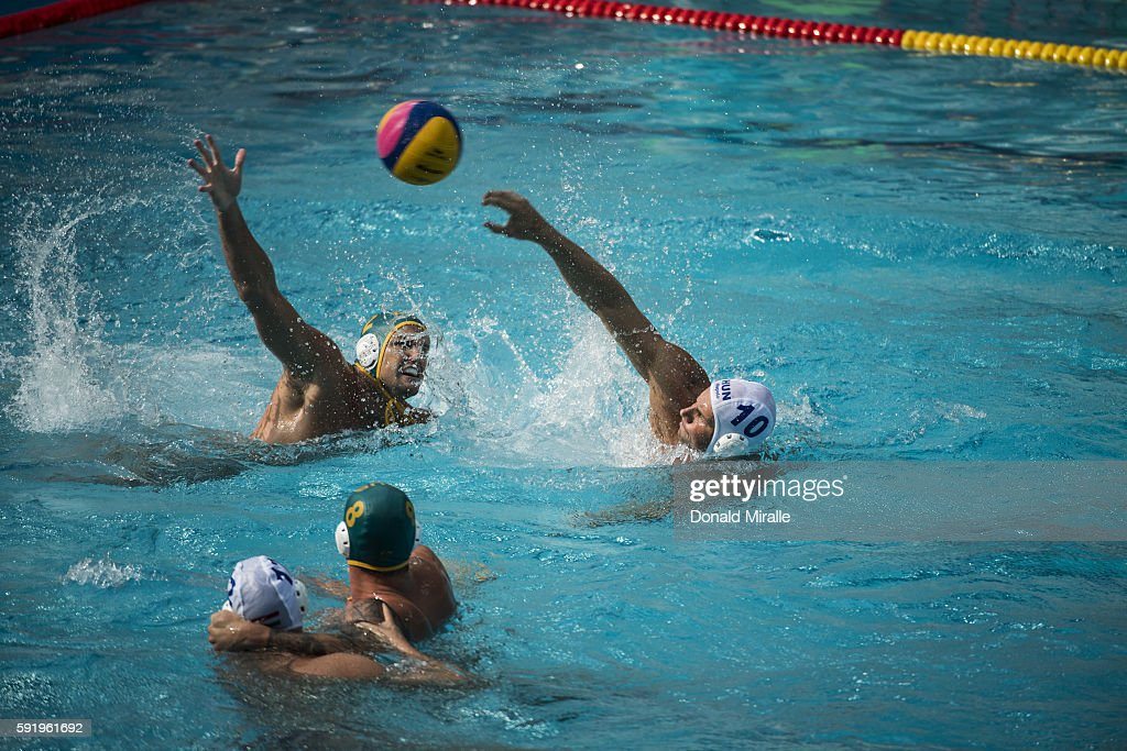 2016 Summer Olympics Australia Richie Campbell in action vs Hungary Denes Varga during Men's Preliminary Round Group A match at Olympic Aquatics...