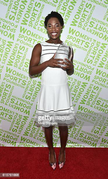 Water Polo player Ashleigh Johnson poses with her Team Sportswoman of the Year award at the 37th Annual Salute To Women In Sports Gala at Cipriani...