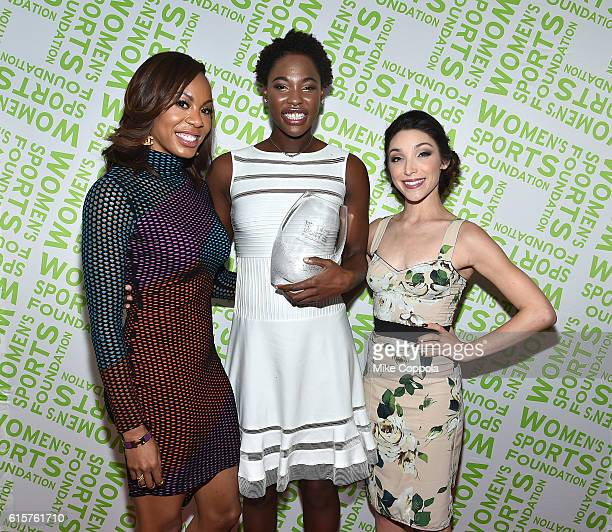 Water Polo player Ashleigh Johnson poses with her Team Sportswoman of the Year award and Track Field athlete Sanya RichardsRoss and Ice Dancer Meryl...