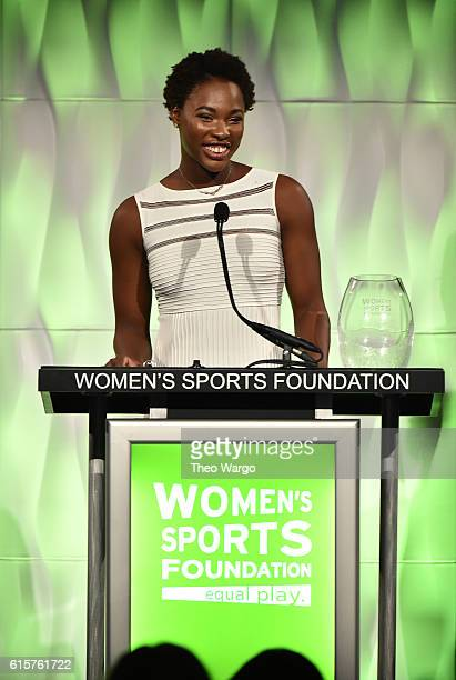 Water Polo player Ashleigh Johnson speaks on stage as she accepts with Team Sportswoman of the Year award at the 37th Annual Salute To Women In...
