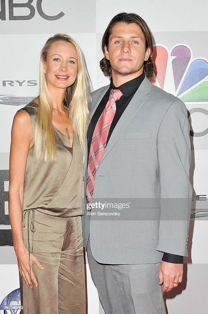Water polo player Tony Azevedo (R) and a guest attend the NBC/Universal's 71st Annual Golden Globes After Party at The Beverly Hilton Hotel on January 12, 2014 in Beverly Hills, California.