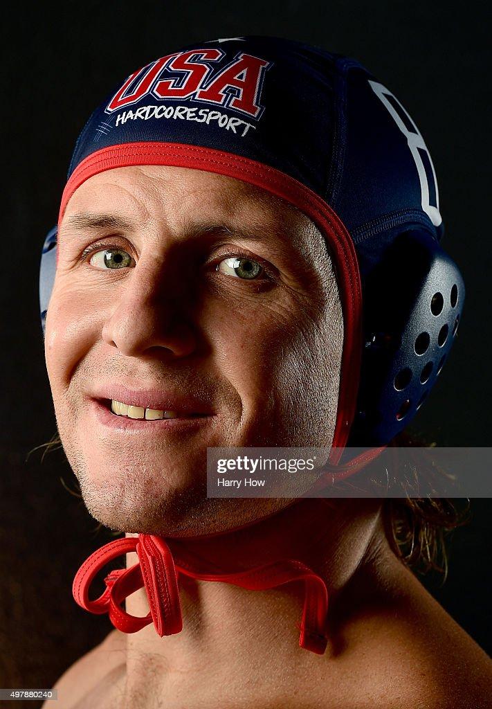 Water polo player Tony Azevedo poses for a portrait at the USOC Rio Olympics Shoot at Quixote Studios on November 18, 2015 in Los Angeles, California.