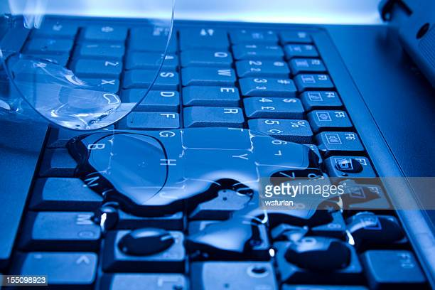 Water poured on laptop