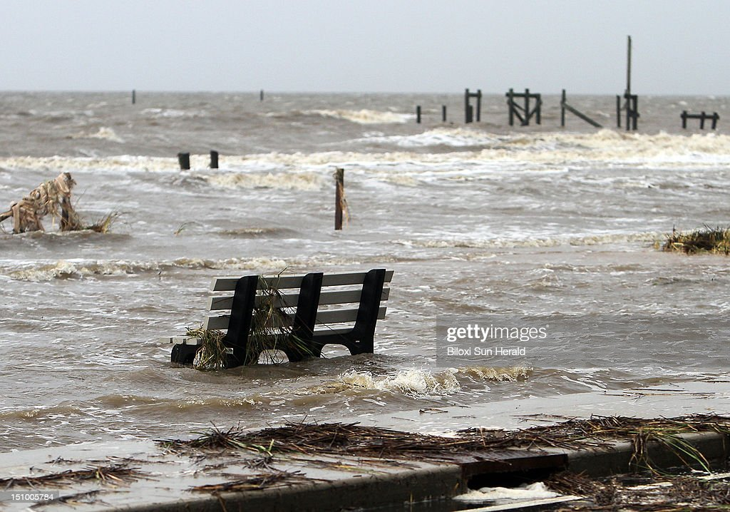 Water remains high on the beach in Waveland Mississippi on Thursday August 30 as Tropical Storm Isaac moves along coast