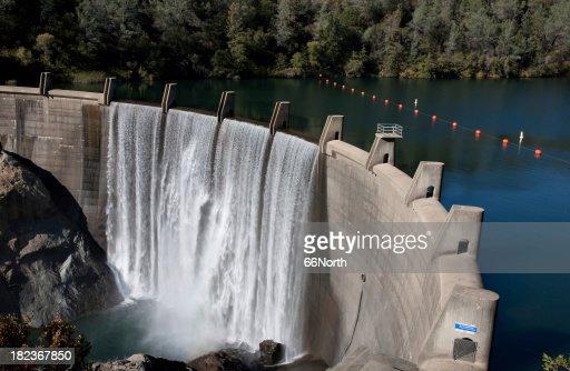Water Reservoir Dam Wall Rocks Concrete FUll Drinking Drought