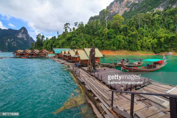 Water Resort in Ratchaprapha Dam at Khao Sok National Park, Surat Thani Province, Thailand.