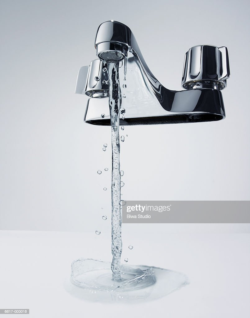 Water Running from Faucet : Stock Photo