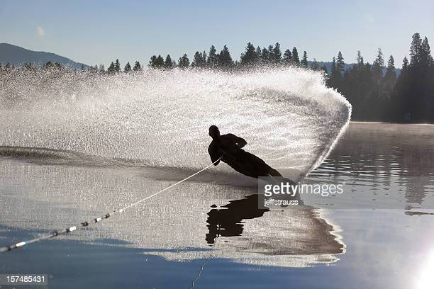 Water skiier cutting it up