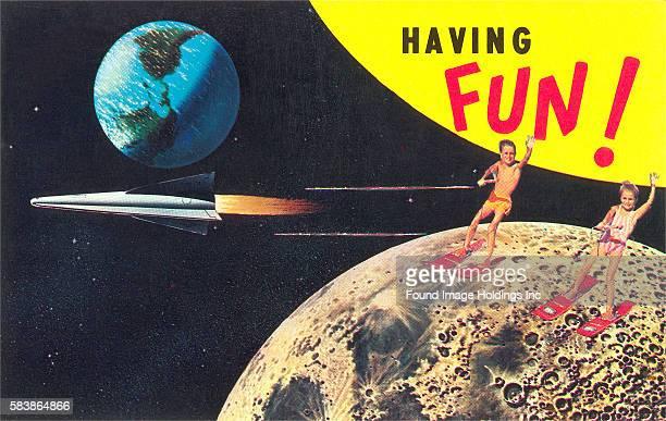 Water Skiing on the Moon Having Fun