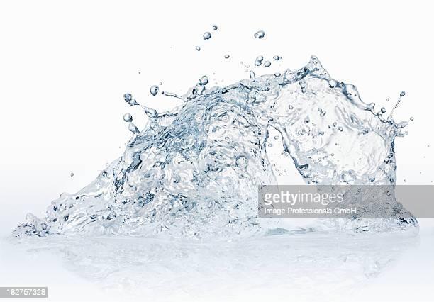 Water splash against white background