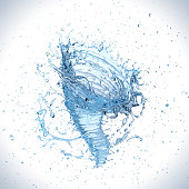Water splash into a vortex or twister shape , liquid Tornado or whirlpool, 3d illustration.