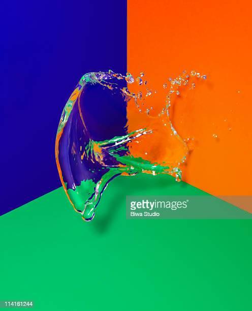 water splash on triple colored corner