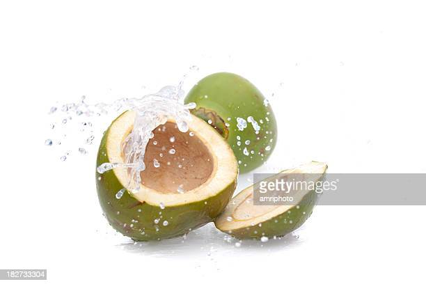 water splashing from green coconut