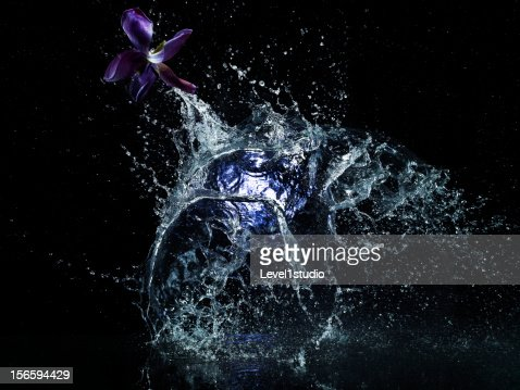 Water splashing on black background : Stock Photo
