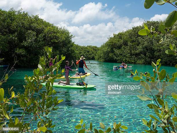 Water sport in Mexican Sinkhole (Cenote), Quintana Roo