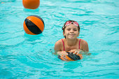 Girl in a pool playing water basketball