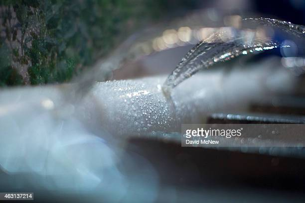 Water sprays from Delta Plastics irrigation polytubing displayed on opening day of the World Ag Expo on February 10 2015 in Tulare California Evan as...