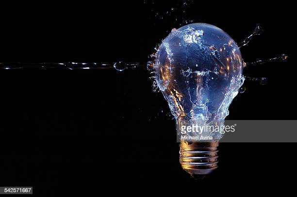 Water striking light bulb