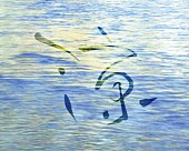 Water surface and Japanese character in the center, high angle view, Computer Graphics, composition, full frame