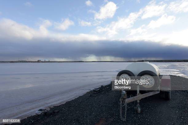A water tank sits on the edge of a salt lake near the St Ives Gold Mine operated by Gold Fields Ltd in Kambalda Australia on Wednesday Aug 9 2017...