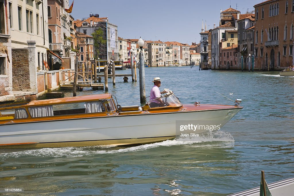Water taxi on the canal. Venice, Italy