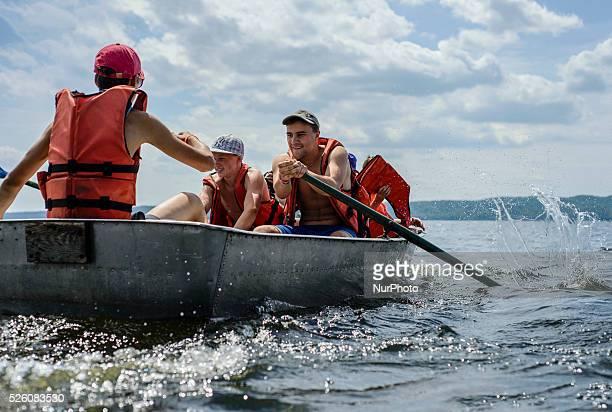 Water tourism competition in Ukrainian scout training camp Kiev region Ukraine