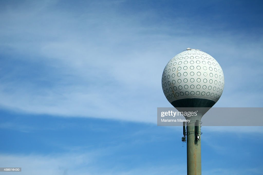 A water tower painted as a golf ball is seen at the course during round one of the Sanderson Farms Championship at The Country Club of Jackson on...