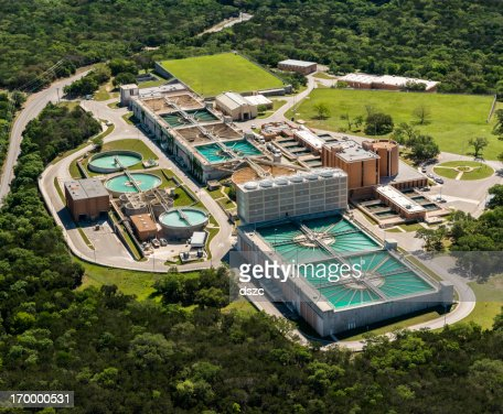 water treatment plant, wastewater bacterial, aeration, sedimentation purification, aerial view