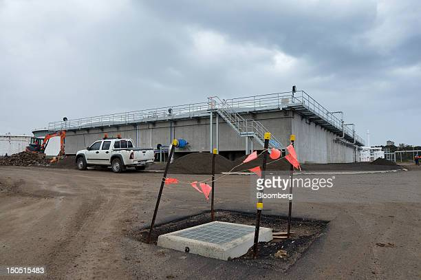 A water treatment storage building for holding wastewater from the neighboring Shell Australia Ltd Geelong oil refinery stands under construction at...