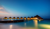 Water villas in hotel resort, Indian ocean, Maldives