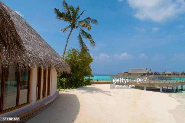 Water Villas white sandy Beaches and cristal clear turquois Ocean at Milaidhoo Island BaaAtoll on February 21 2017 in Male Maldives