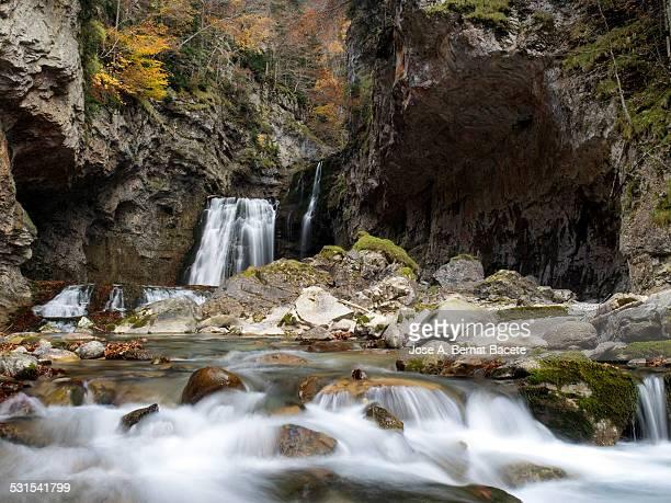 Water waterfalls in a ravine in autumn