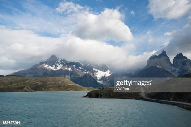 Water way and mountain ranges in Torres del Paine National Park Chile